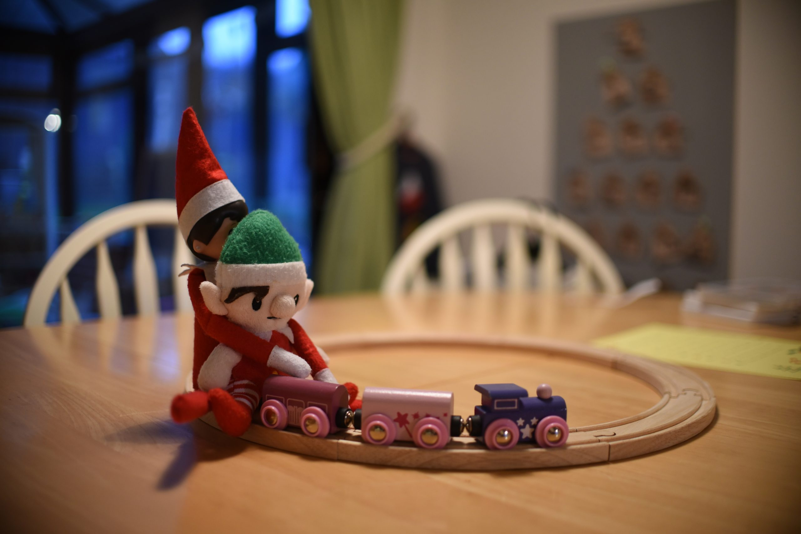 Elf on the shelf on a train